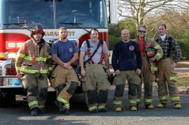 The Men of Company 2- Captain Bill Beckert, Fireman John Glennon, Assistant Captain Chris Beckert, Fireman Matt Feyh, Fireman Carter Burwell  and Fireman Charles Dayton